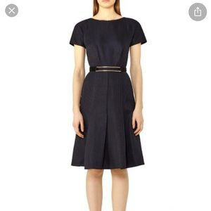 Reiss deep blue Hallie fit and flare dress size 4
